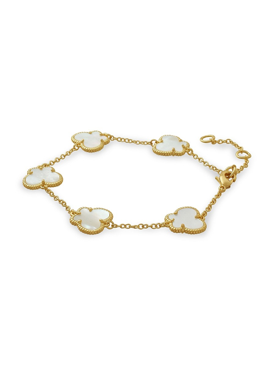 Women's Butterfly Collection 14K Goldplated & Mother of Pearl Bracelet
