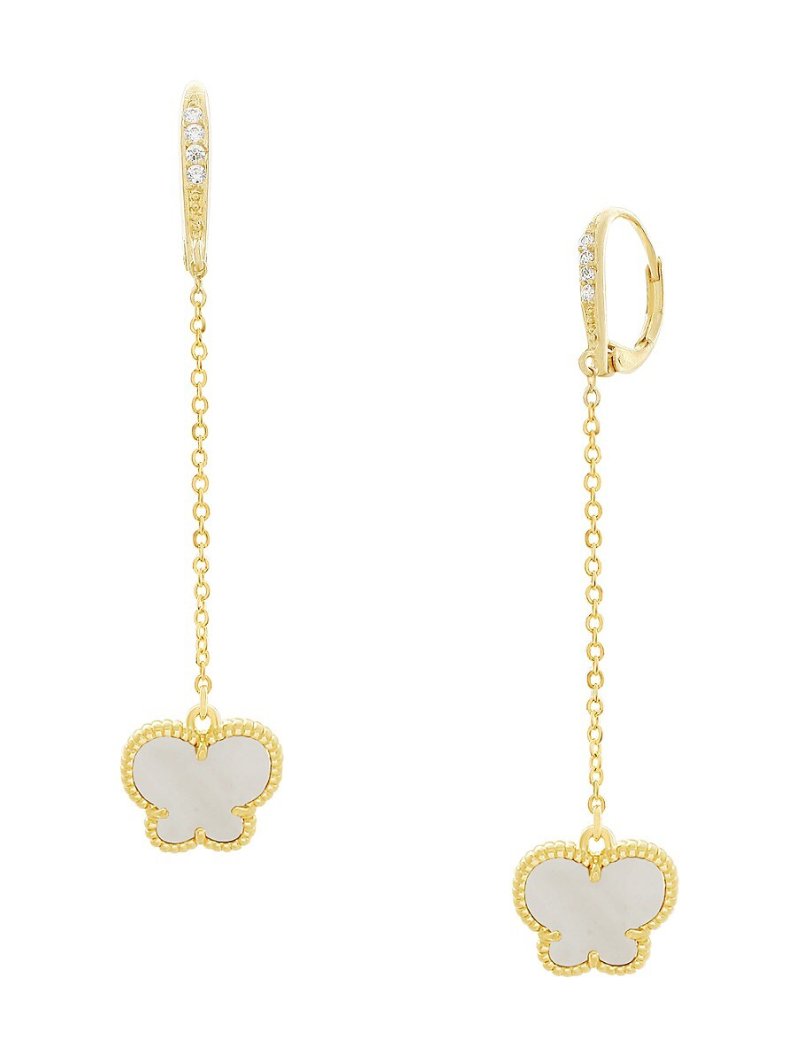 Women's Butterfly Collection 14K Goldplated & Mother of Pearl Drop Earrings