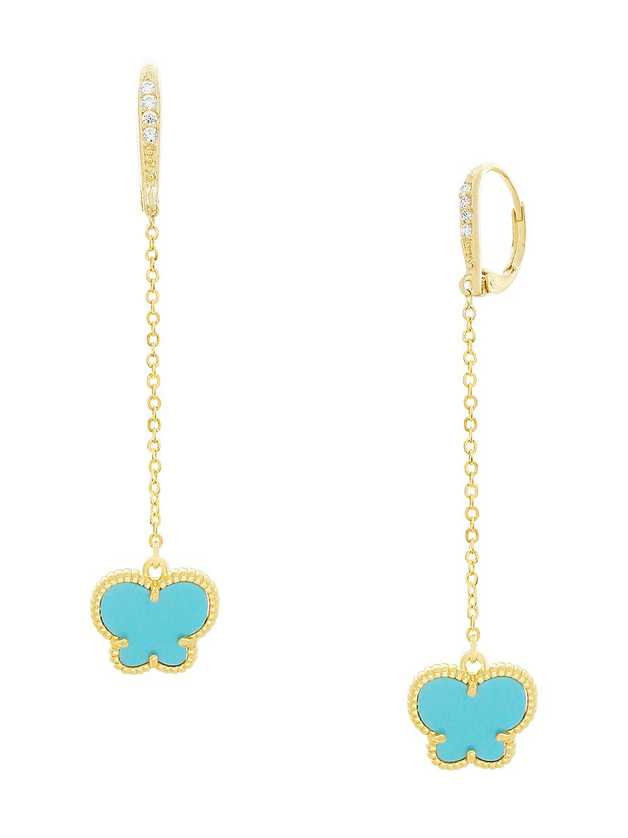 Women's Butterfly Collection 14K Goldplated & Turquoise Drop Earrings