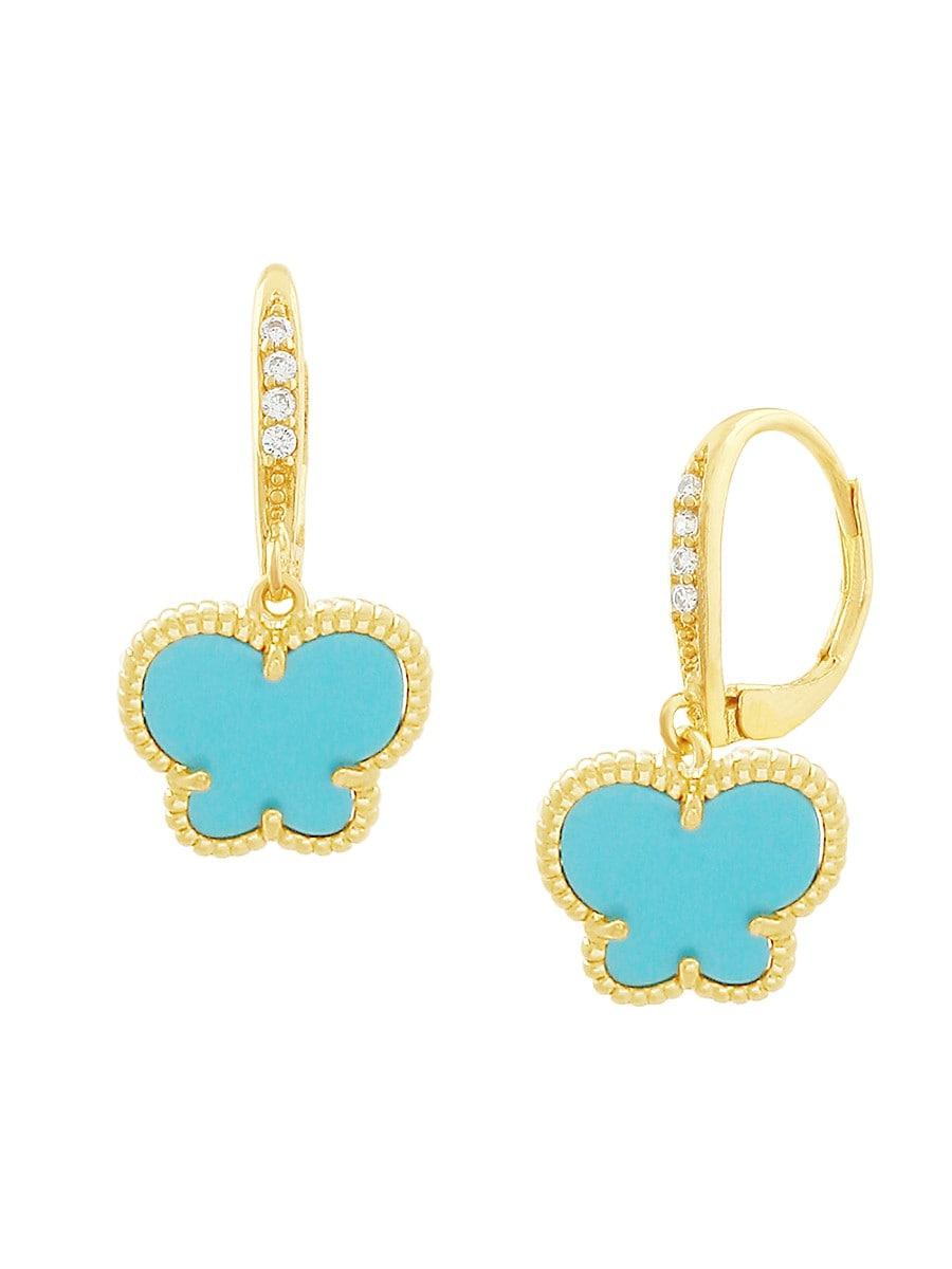 Women's Butterfly 14K Goldplated & Turquoise Acrylic Drop Earrings