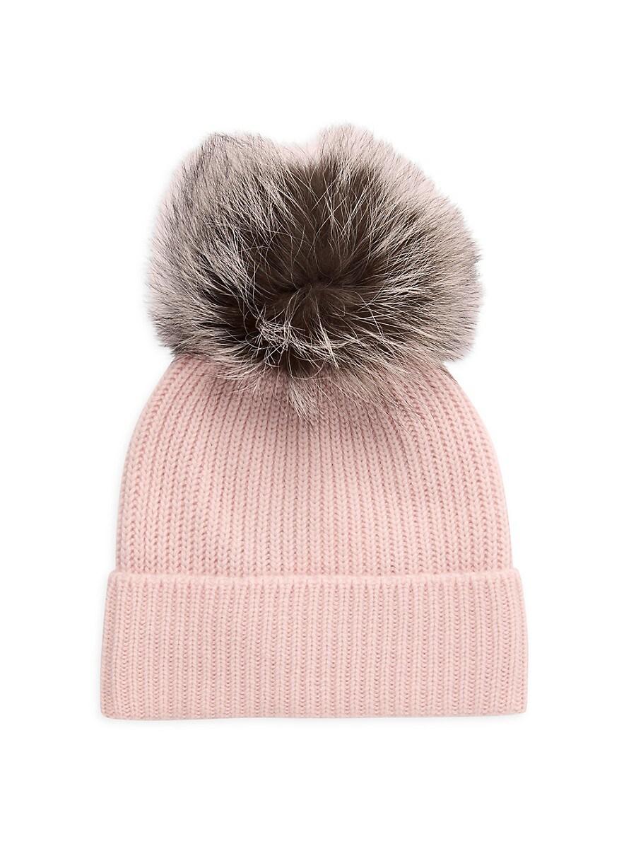 Women's Cashmere & Fox Fur Pom-Pom Beanie