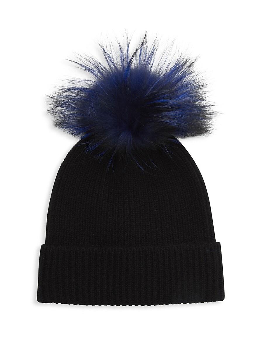 Women's Fox Fur Pom-Pom Cashmere Beanie