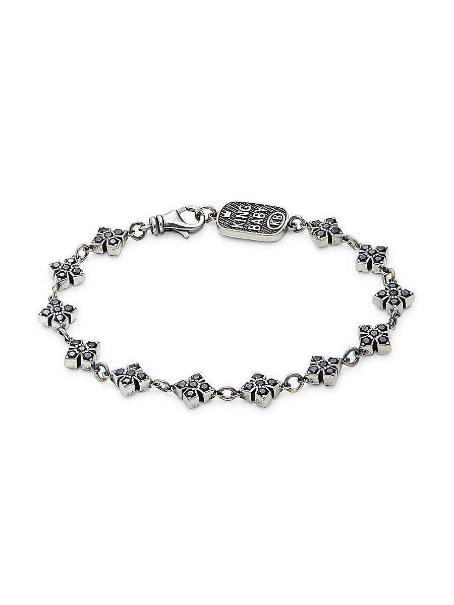 Sterling Silver & Black Cubic Zirconia Cross Chain Bracelet