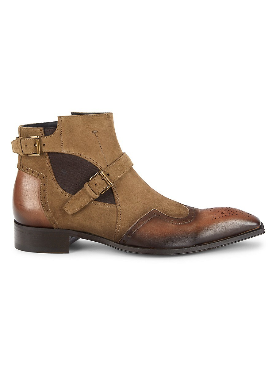 Men's Perforated Suede & Leather Boots