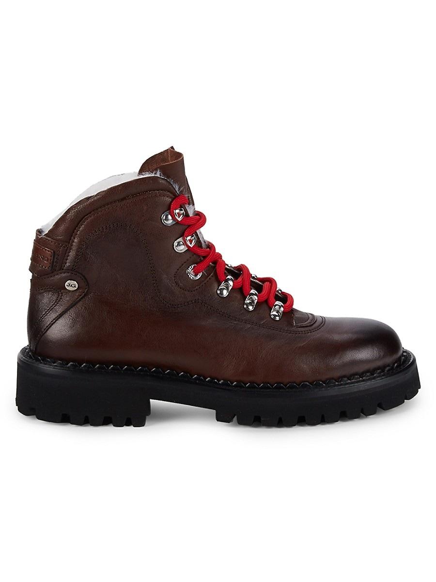 Men's Faux Fur-Lined Leather Hiker Boots