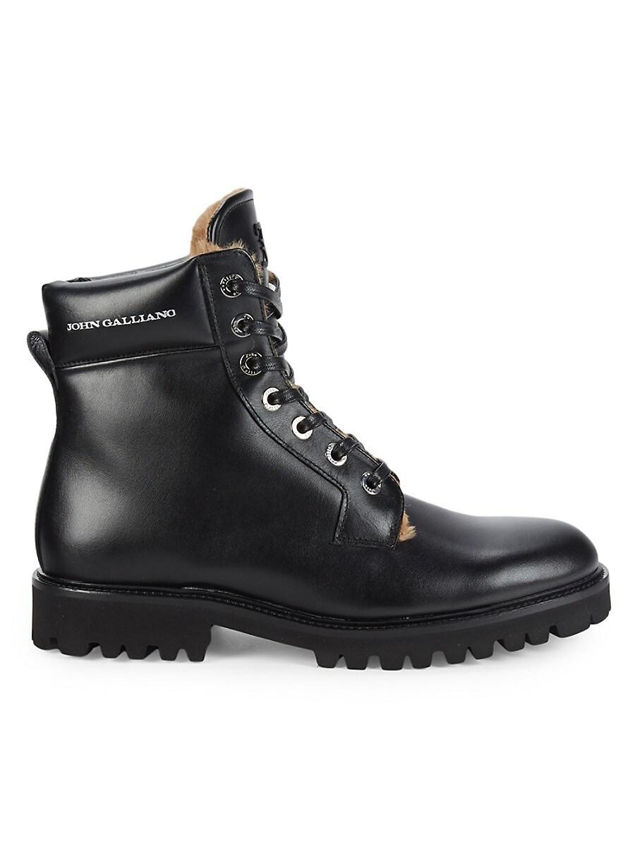Men's Leather & Faux Fur Hiker Boots