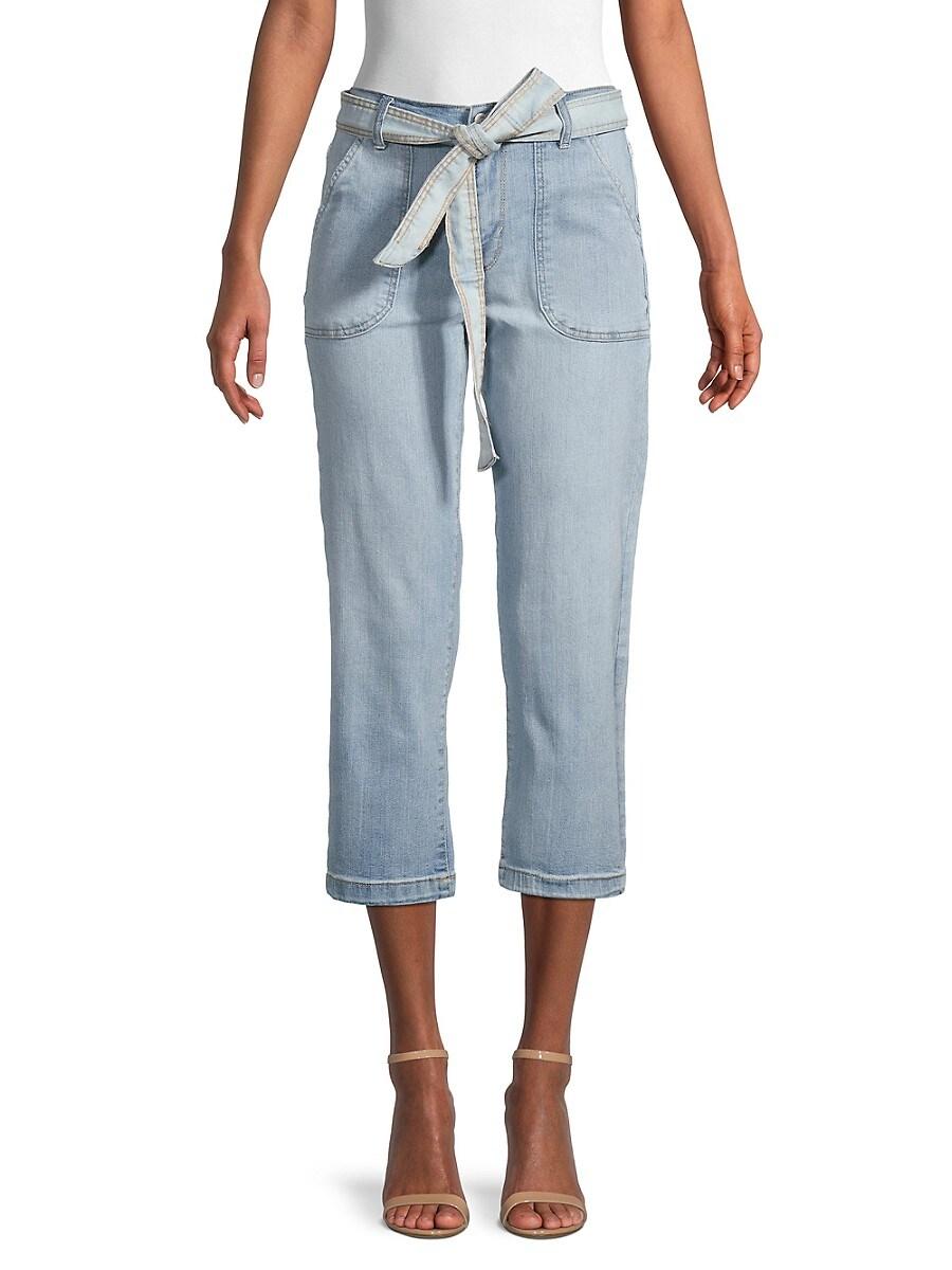 Women's Belted Porkchop Pocket Cropped Jeans