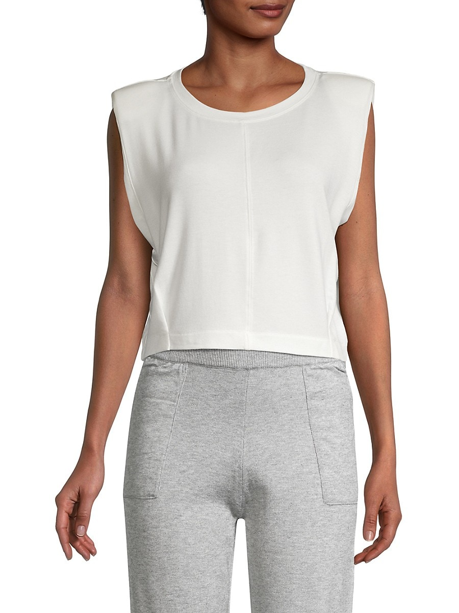 Women's Padded-Shoulder Cropped Tank Top