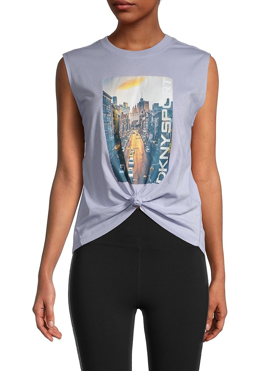 Women's City Street Graphic Knotted Tank Top