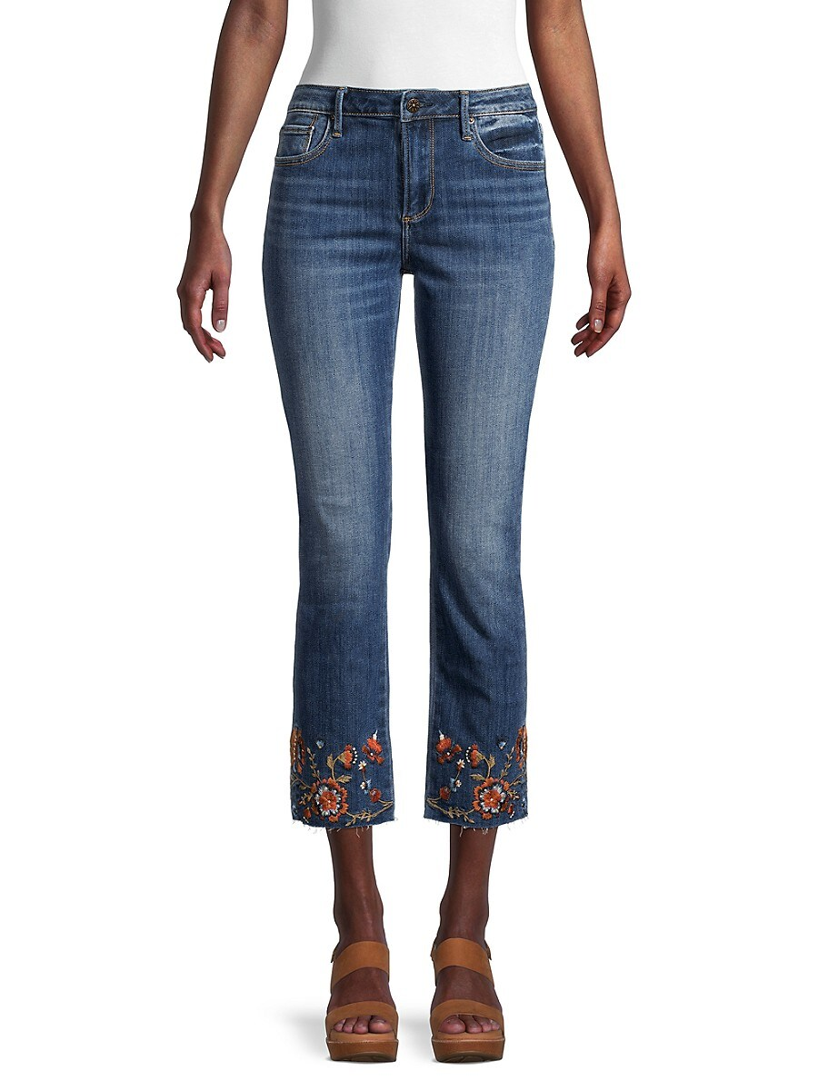 Women's Colette Floral-Embroidered Cropped Jeans