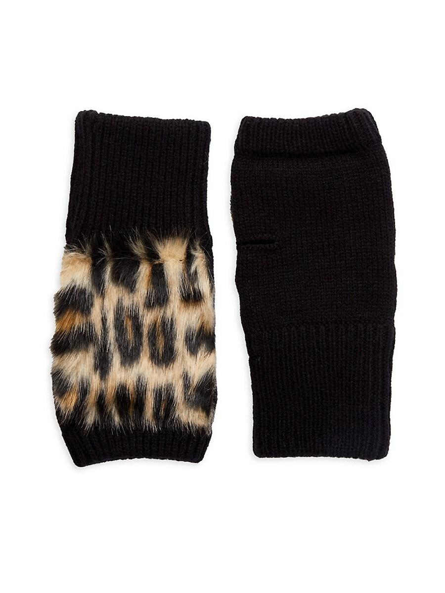 Women's Leopard Faux Fur & Knit Fingerless Gloves