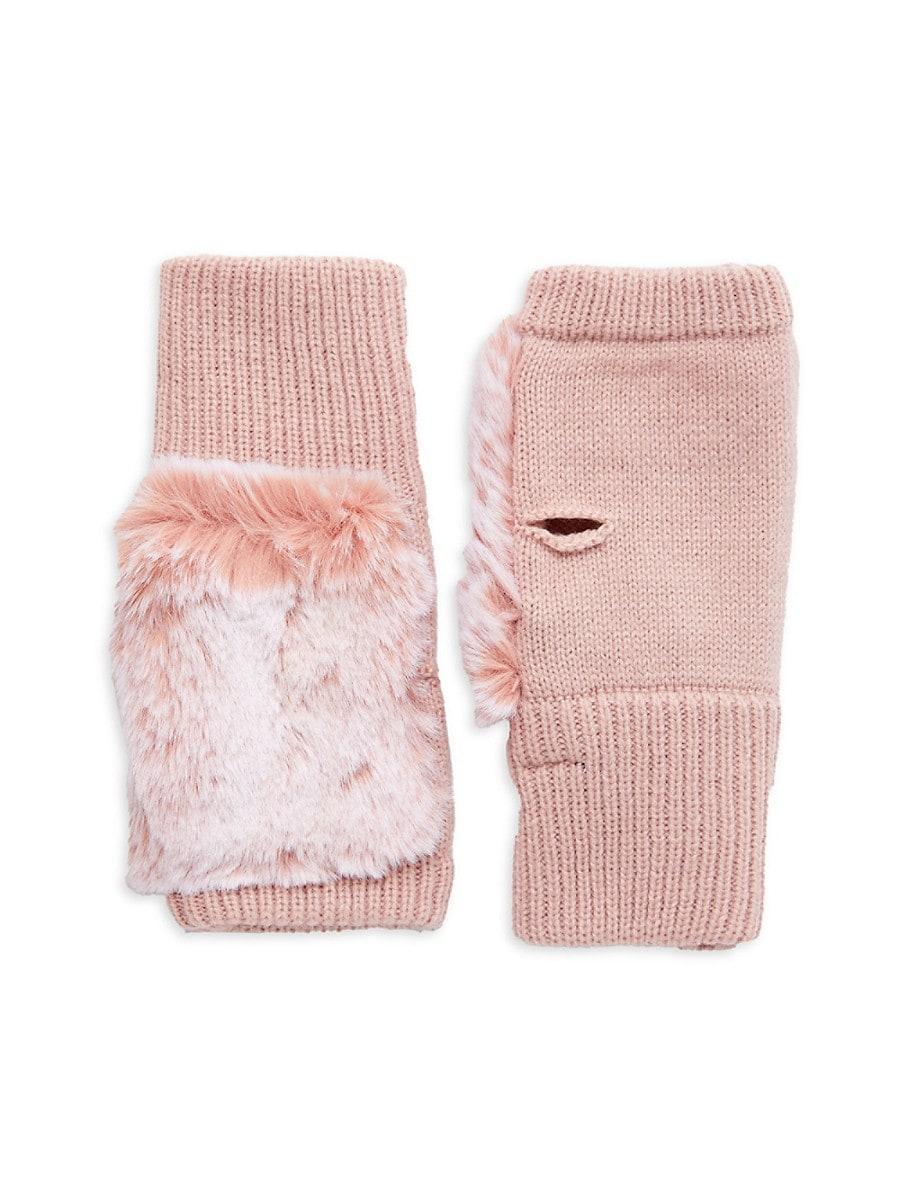 Women's Texty Faux Fur & Knit Fingerless Gloves
