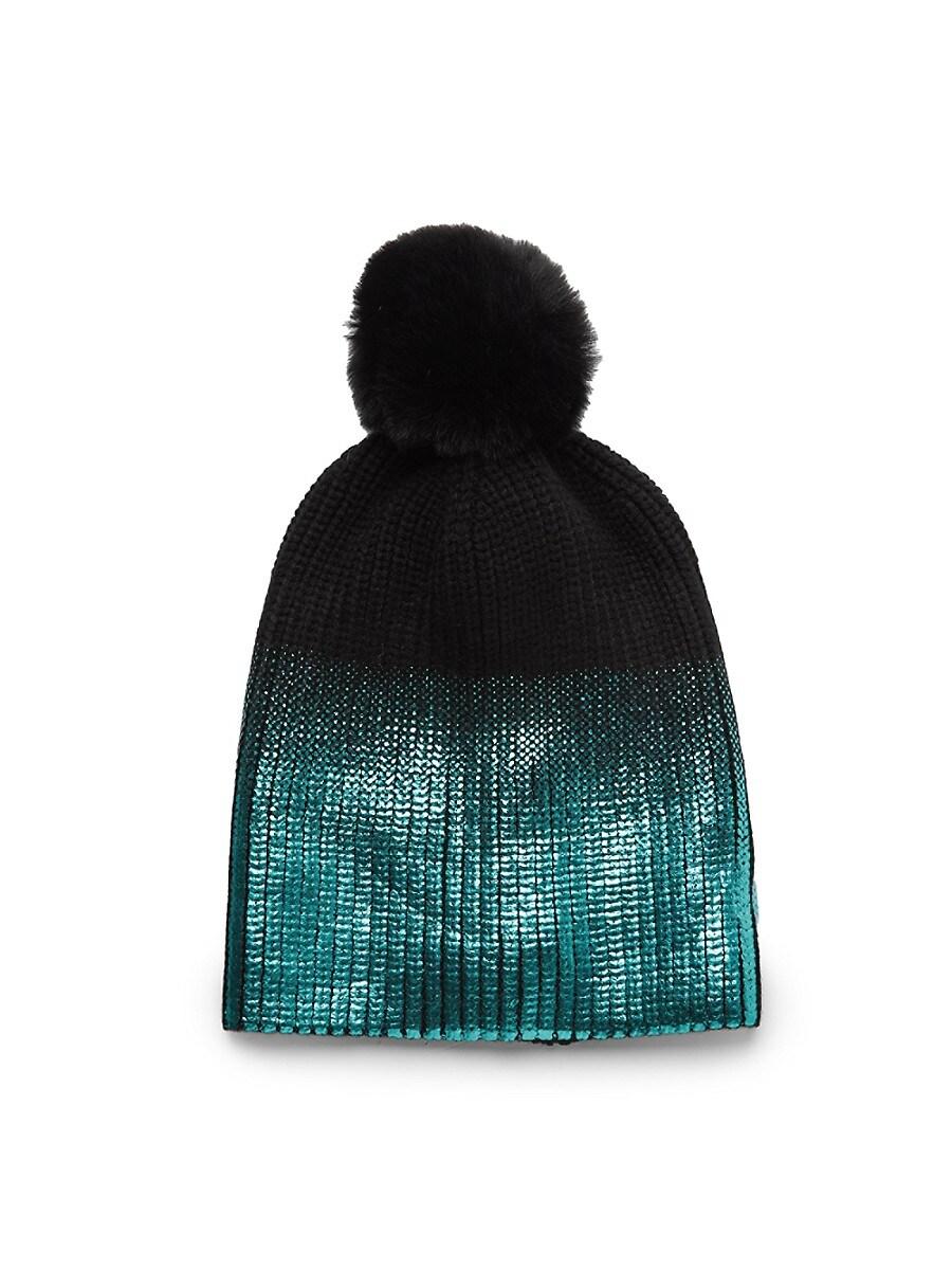 Women's Faux Fur Pom Metallic Ombré Knit Hat