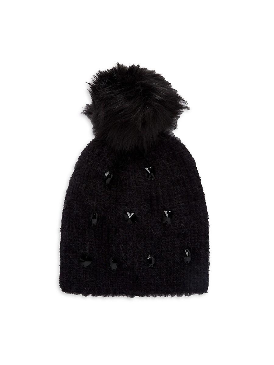 Women's Faux Fur Pom-Pom & Embellished Knit Beanie