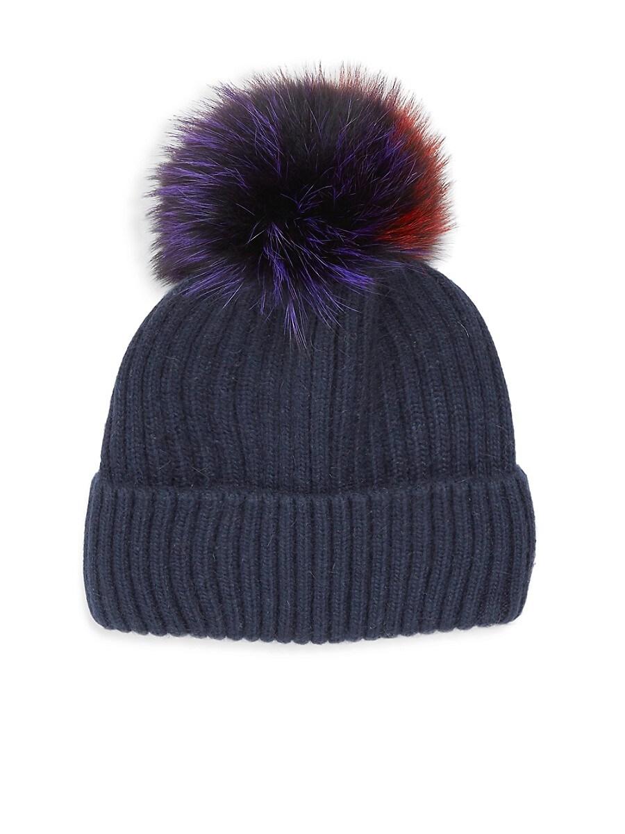 Women's Multicolor Fox & Rabbit Fur Pom-Pom Beanie