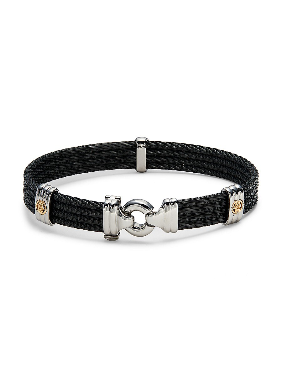 Men's 18K Two-Tone Gold & Stainless Steel Cable Bracelet