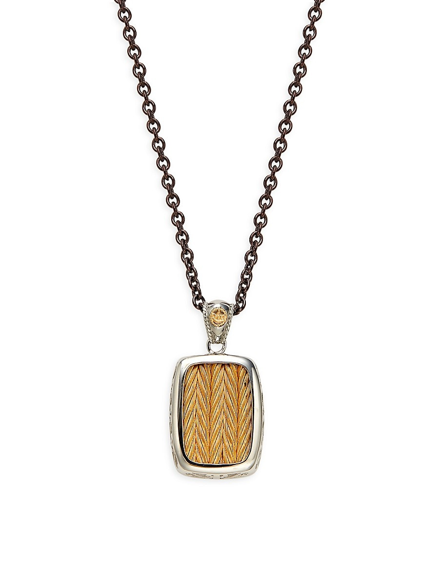 Women's Two-Tone Stainless Steel Cable Pendant Necklace