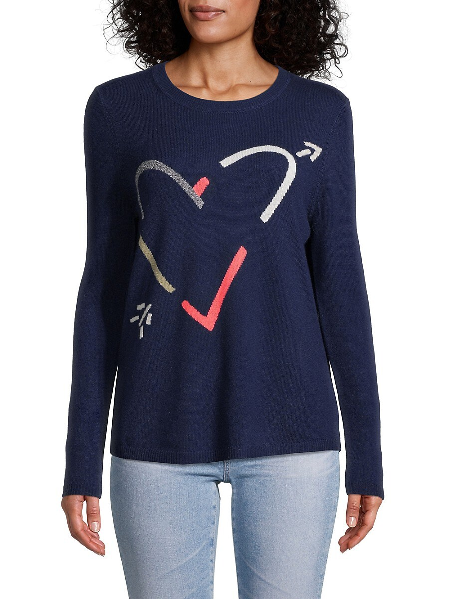 Women's Etched Heart Wool & Cashmere Sweater