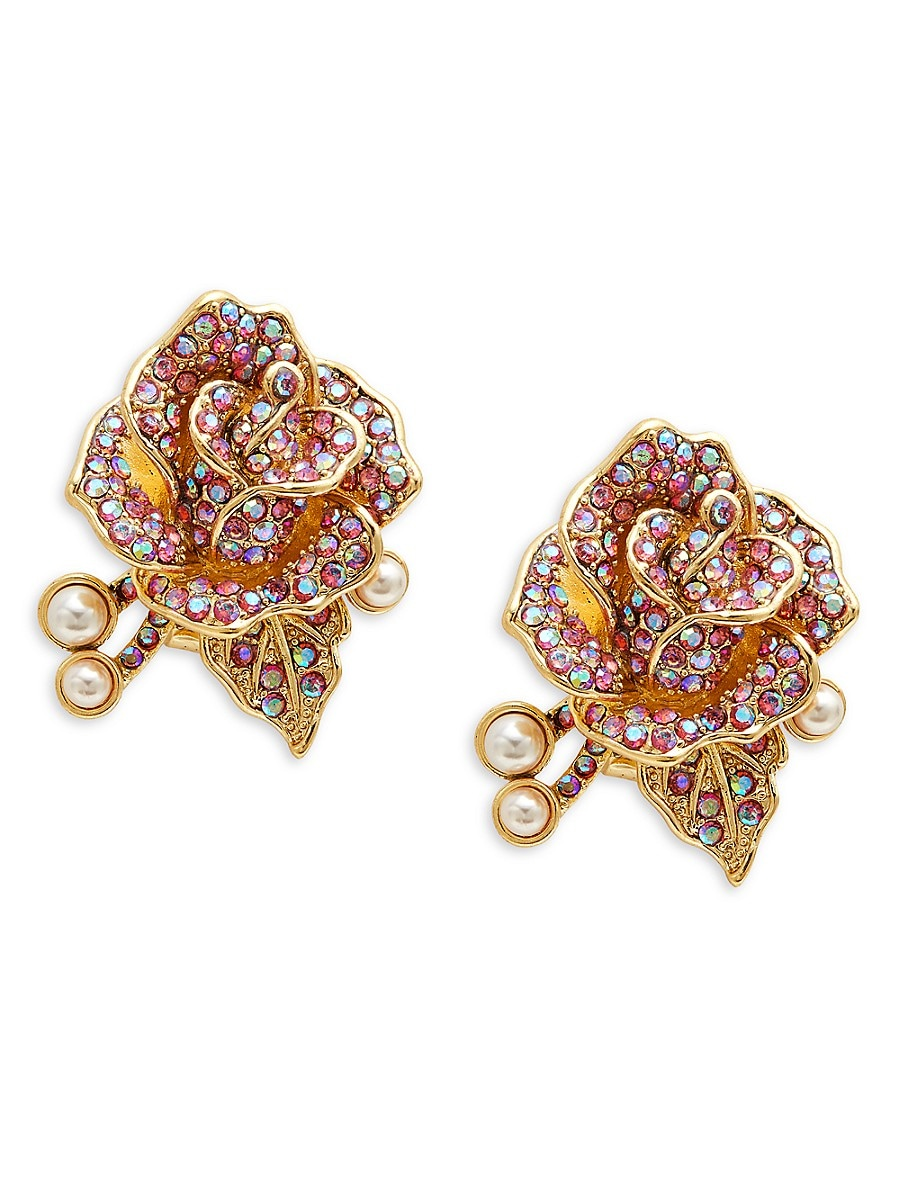 Women's Rose Goldtone & Crystal Flower Earrings