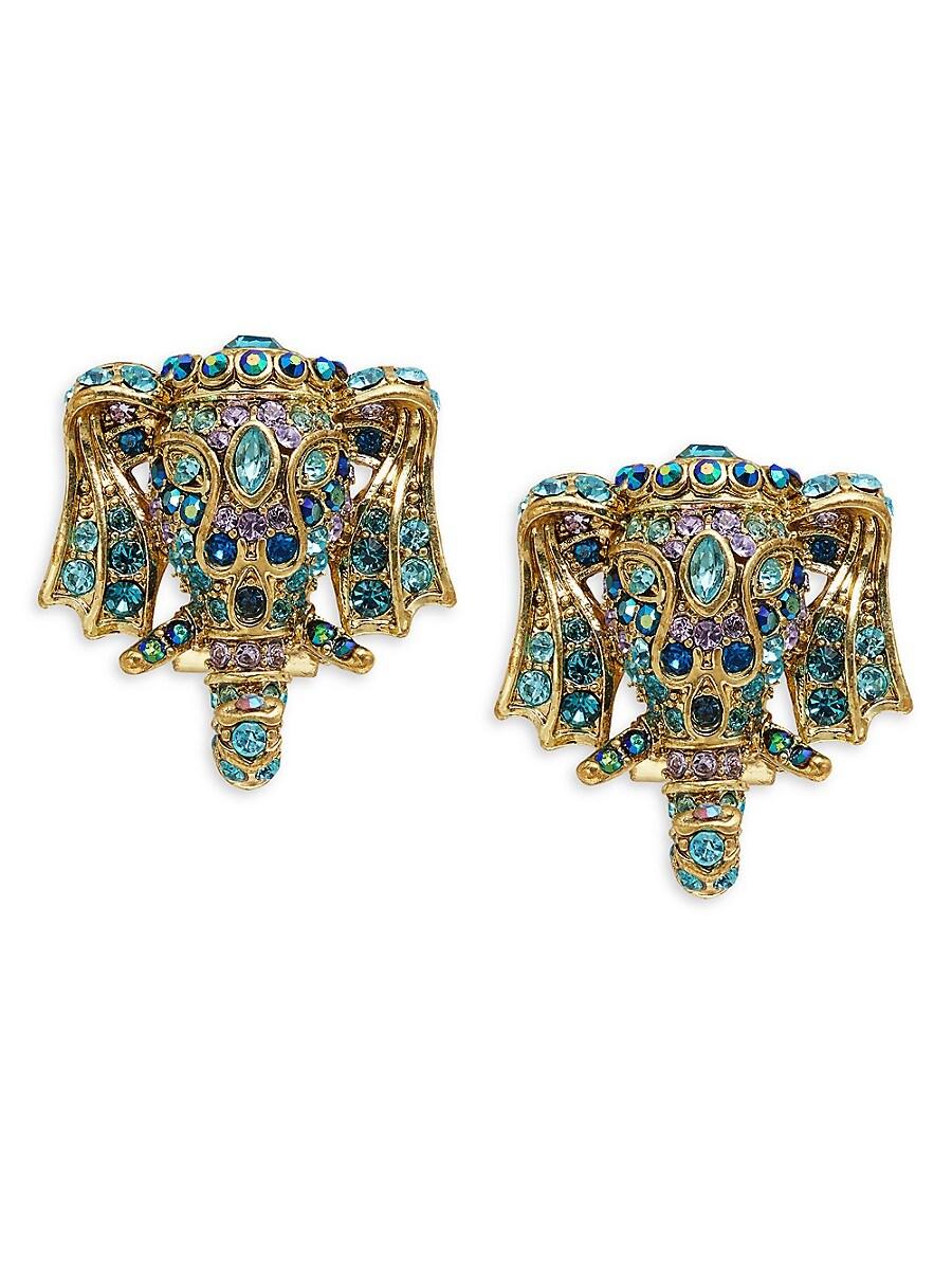 Women's Goldtone & Crystal Elephant Earrings