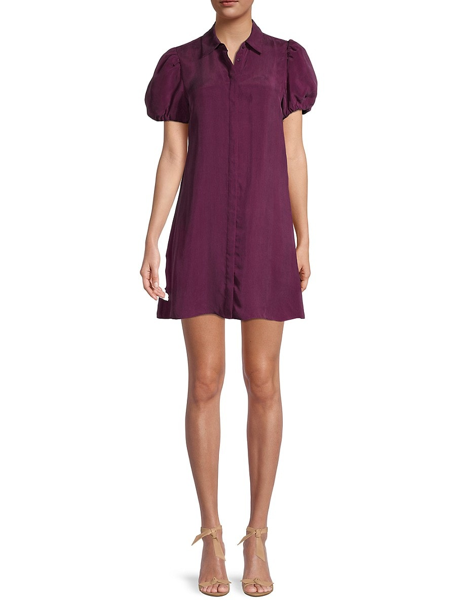 Alice + Olivia by Stacey Bendet Women's Jem Cupro Solid-Colored Shirtdress