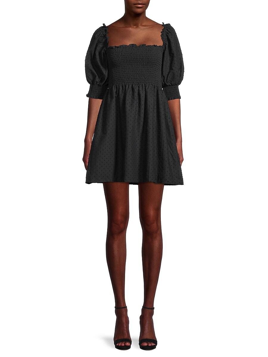 Women's Calyso Swiss Dot Smocked Dress