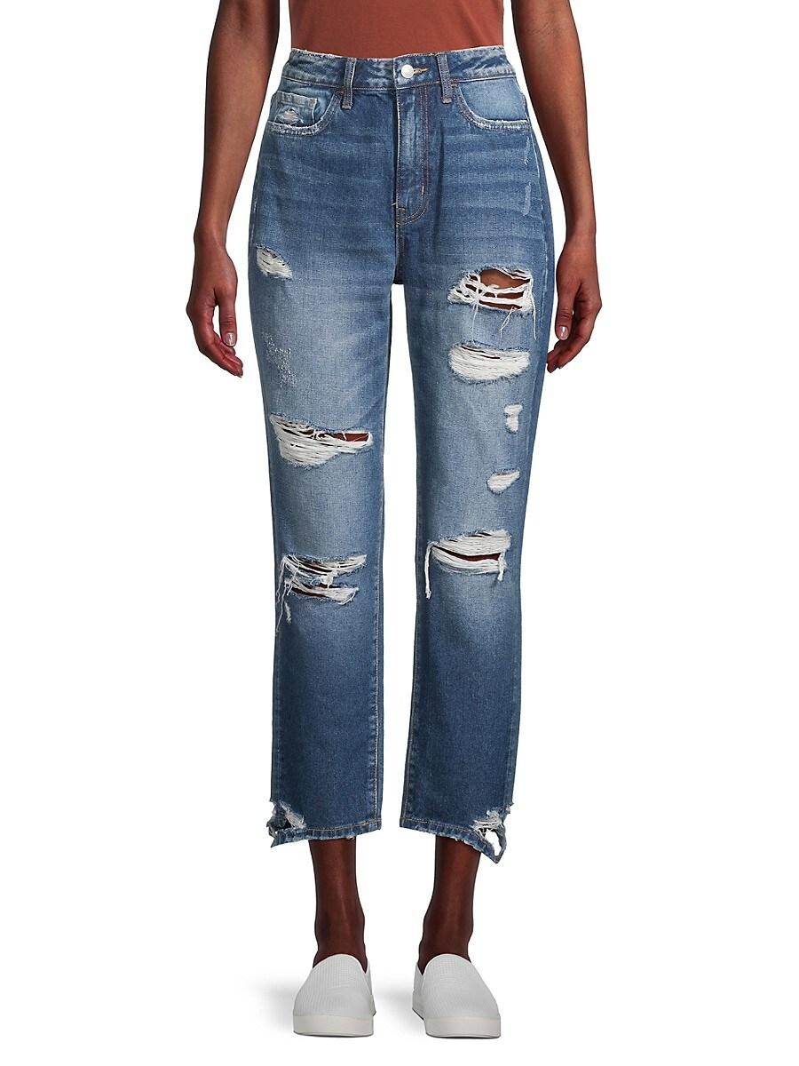 Women's High-Rise Distressed Cropped Boyfriend Jeans