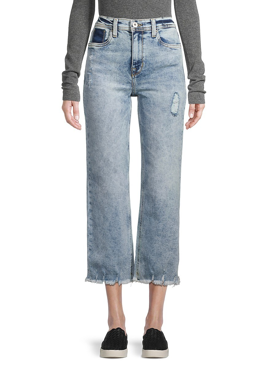 Women's High-Rise Cropped Distressed Wide-Leg Jeans