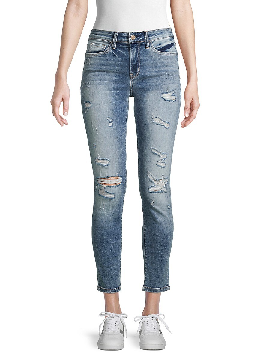 Women's Mid-Rise Distressed Ankle Jeans