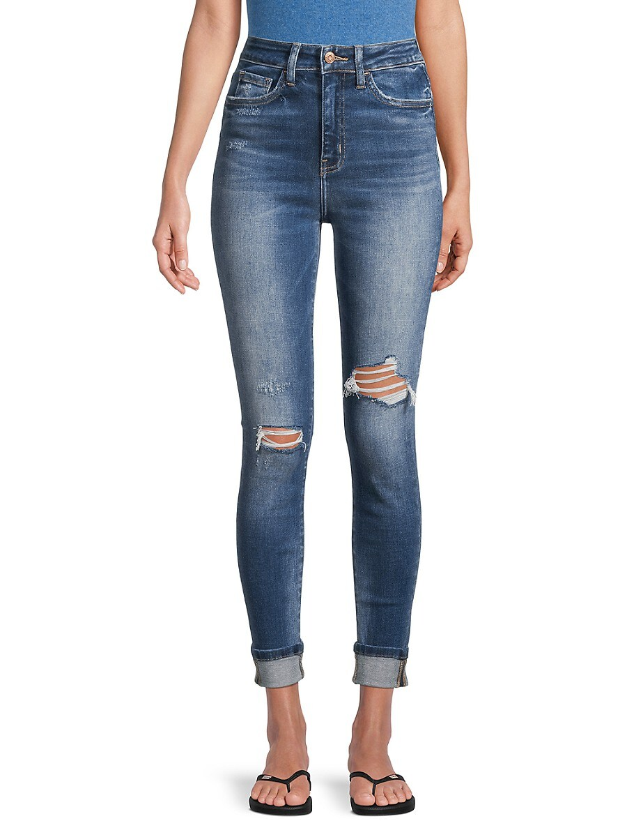 Women's High-Rise Distressed Cropped Jeans