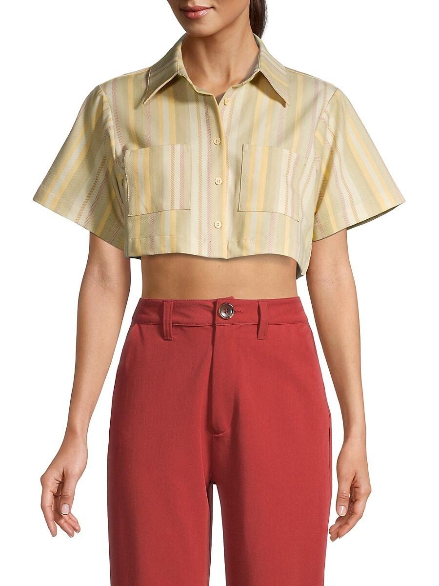 Women's Striped Cropped Shirt