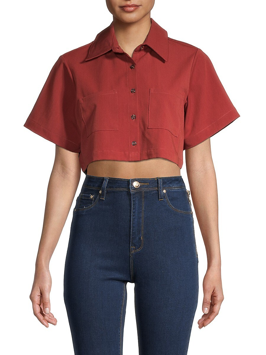 Women's Solid Cropped Button-Down Shirt