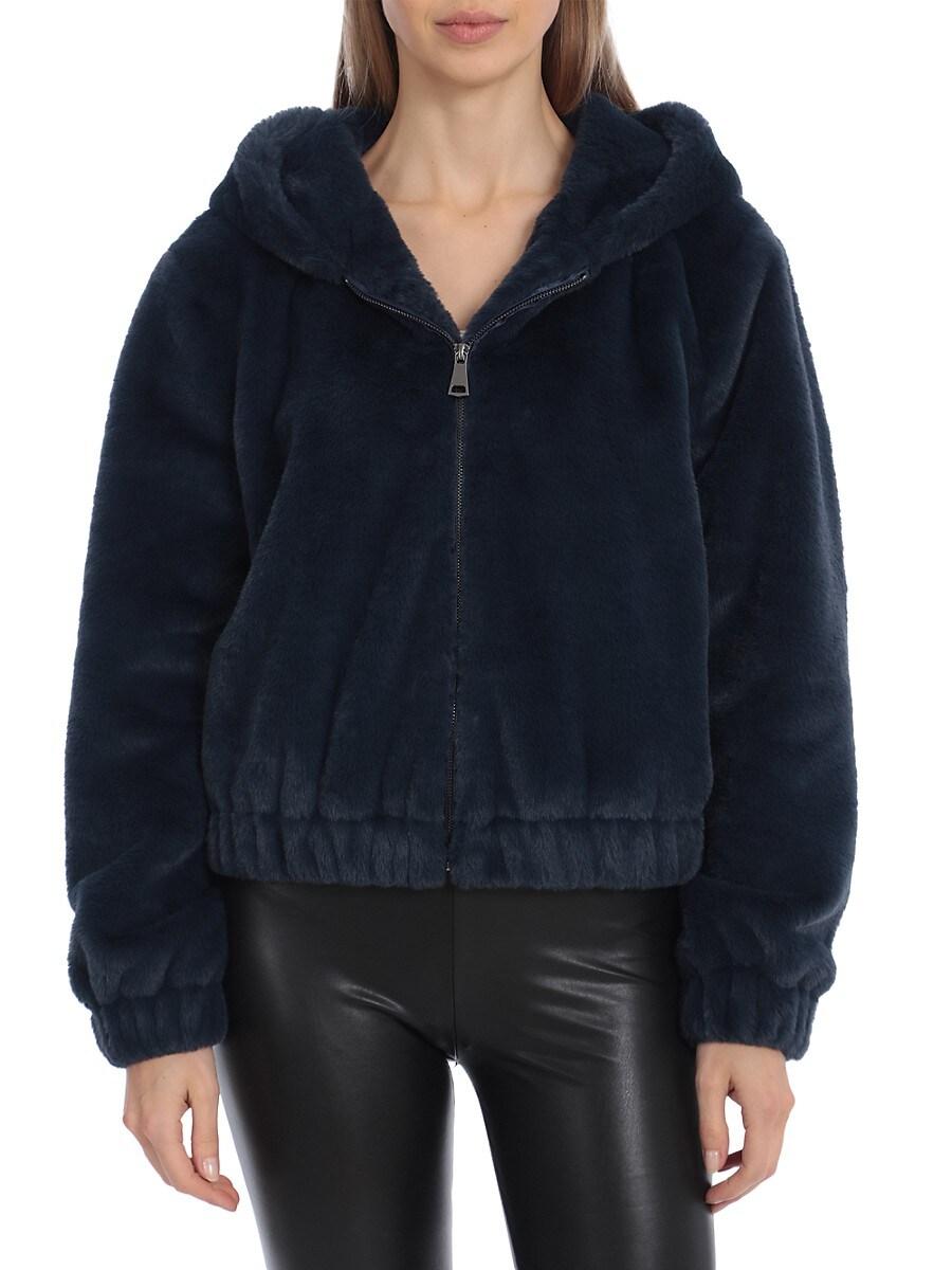 Women's Faux Fur Hooded Bomber Jacket
