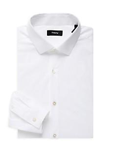 띠어리 Theory Cedrick Regular-Fit Stretch Dress Shirt,WHITE