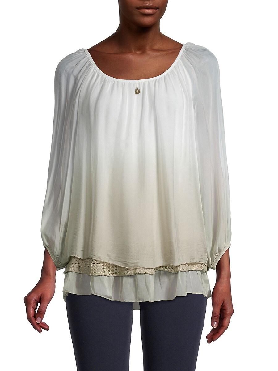 Women's Ombré Layered Silk Top