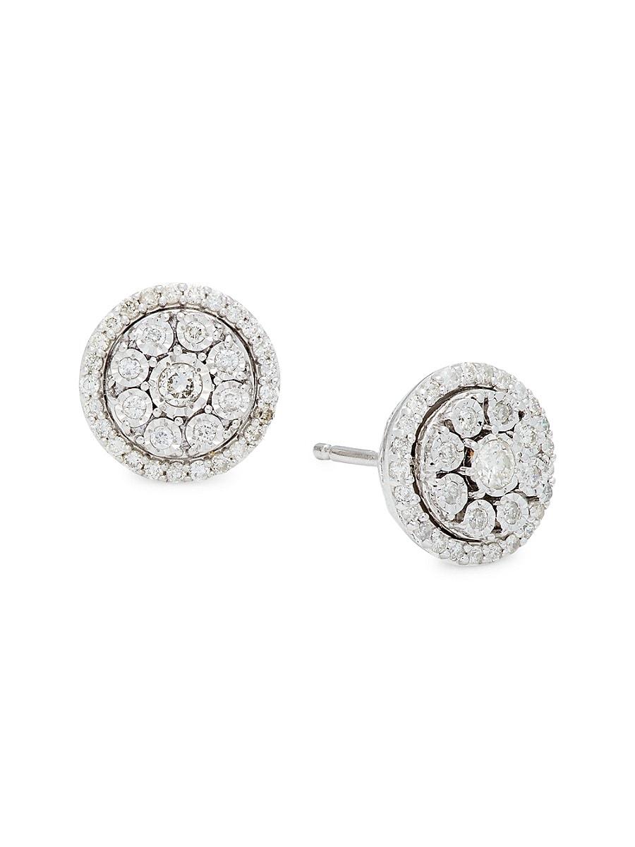 Women's Sterling Silver & 0.50 TCW Diamond Bezel Stud Earrings