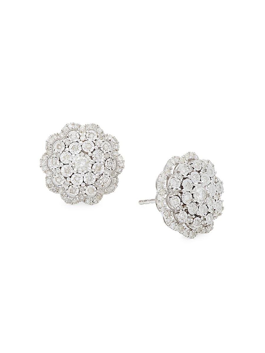 Women's Sterling Silver & 0.46 TCW Diamond Stud Earrings