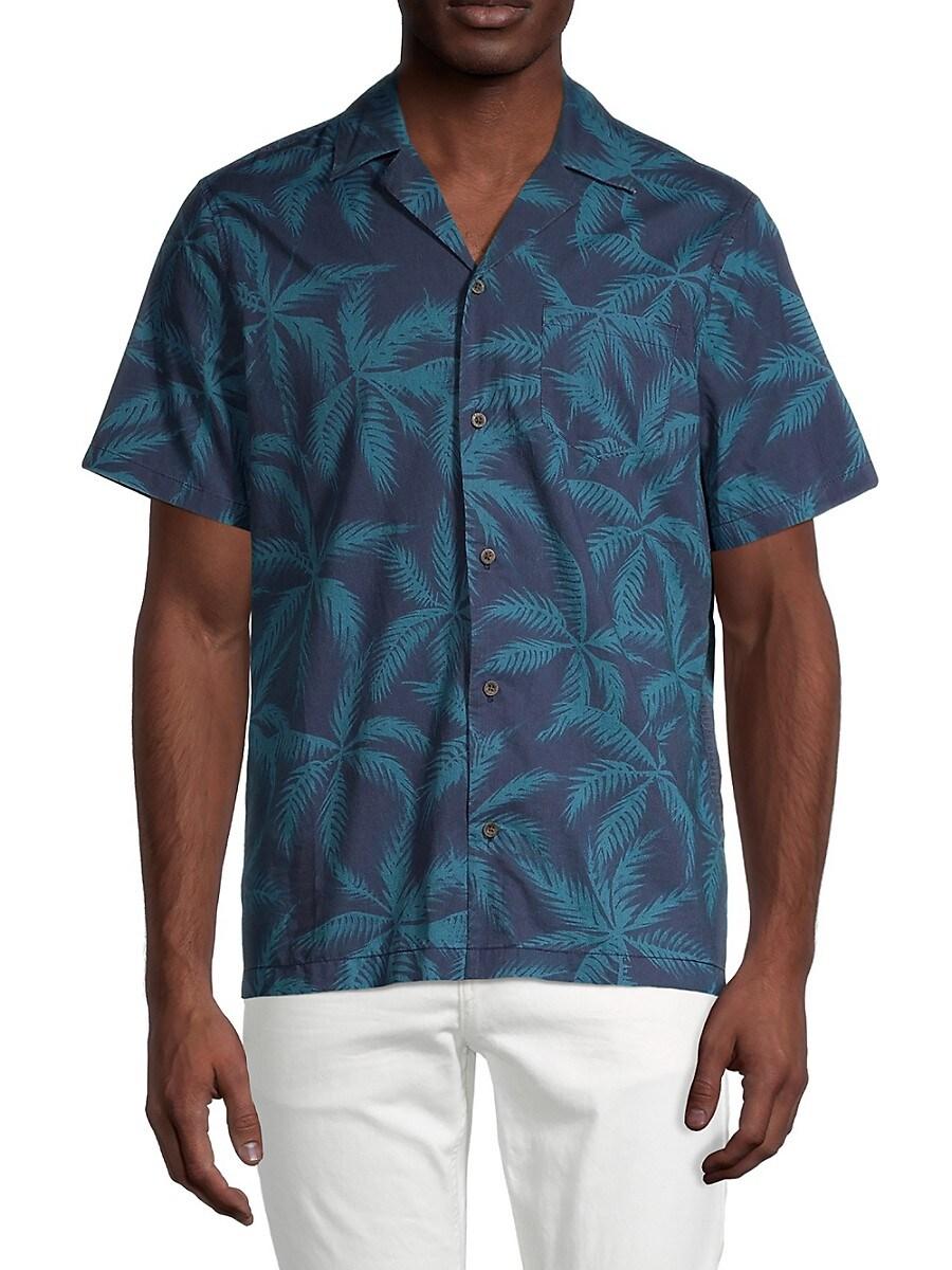 Men's Regular-Fit Palm-Print Camp-Collar Shirt