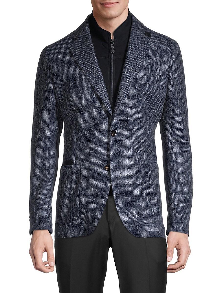 Men's Regular-Fit Textured Virgin Wool & Cashmere Blazer