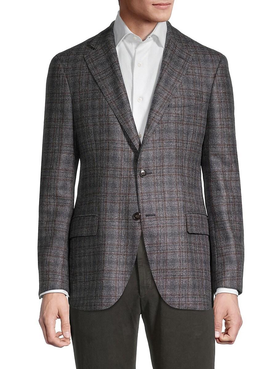 Men's Regular-Fit Windowpane Plaid Melange Wool Blazer
