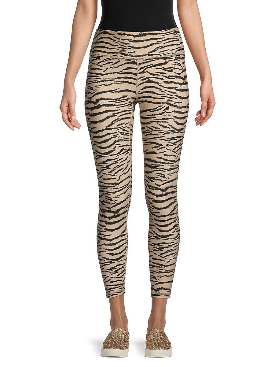DKNY Sport Women's Tiger-Print Cropped Leggings - Latte - Size XS