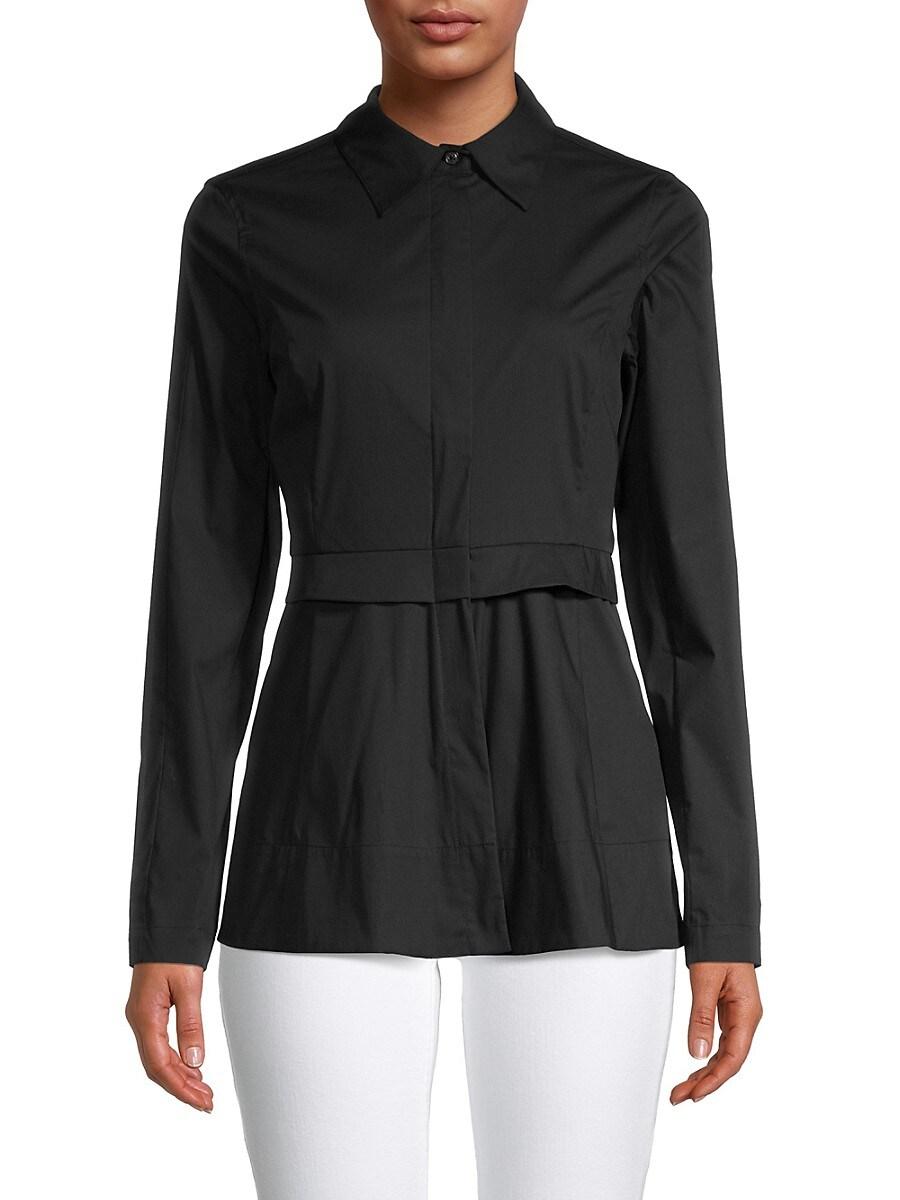 Women's Zip-Up Peplum Shirt