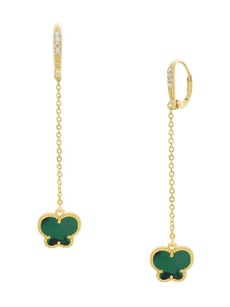 Women's Butterfly 14K Goldplated & Emerald Drop Earrings