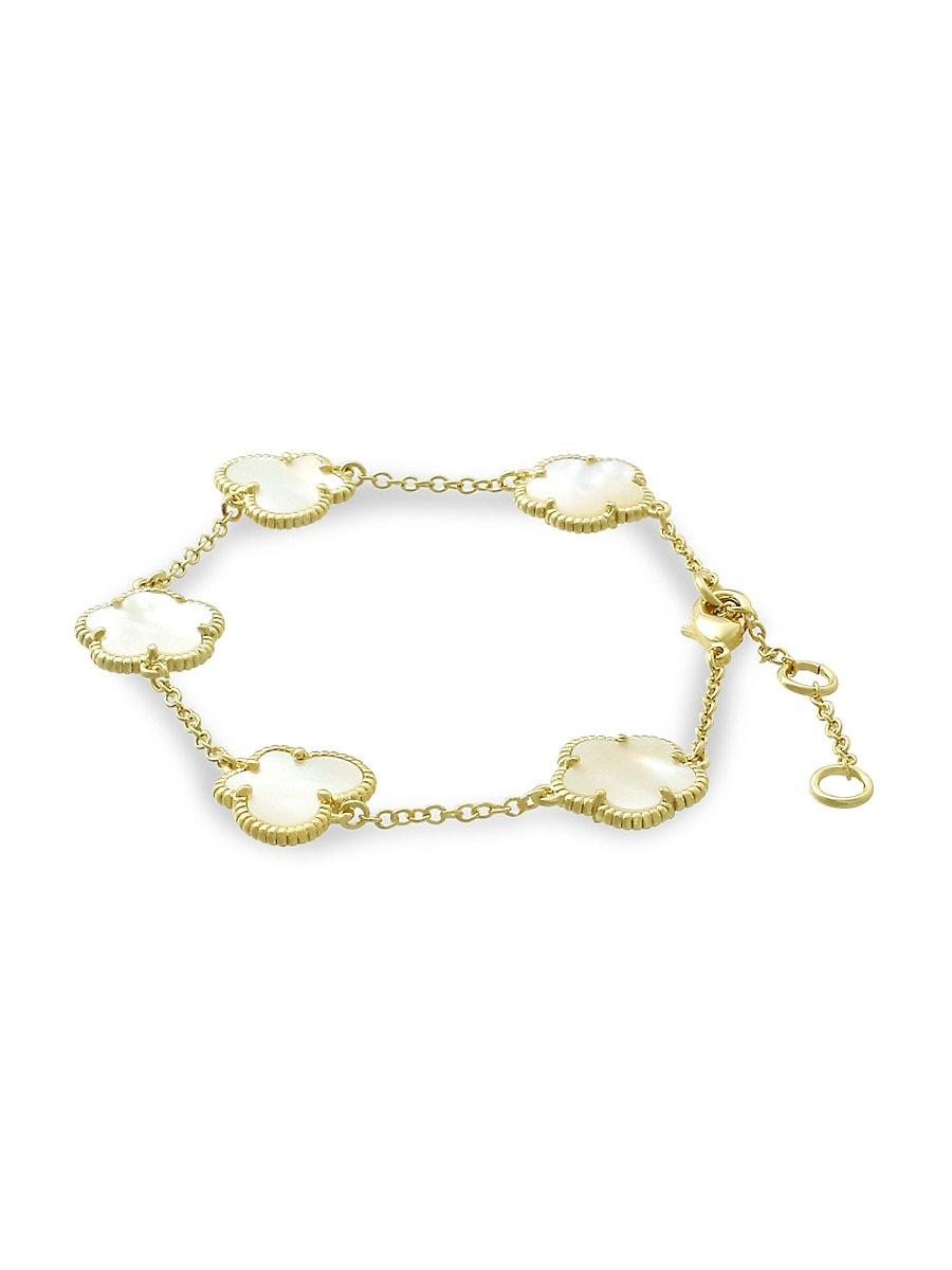 Women's Flower & Butterfly 14K Goldplated & Mother of Pearl Bracelet