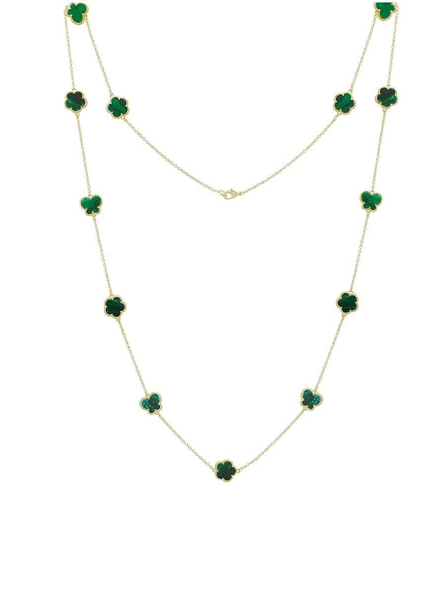 Women's Flower & Butterfly 14K Goldplated & Emerald Multi-Strand Necklace
