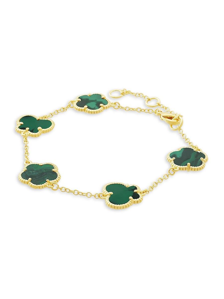 Women's Flower & Butterfly 14K Goldplated & Synthetic Emerald Bracelet