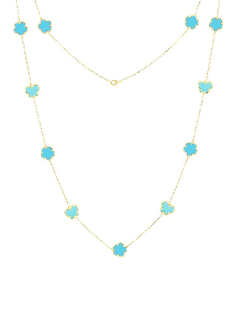 Women's Flower & Butterfly 14K Goldplated & Turquoise Necklace
