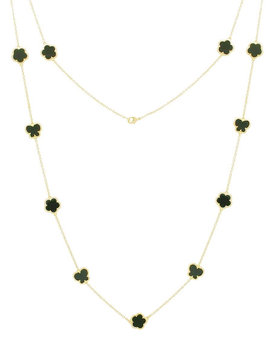 Women's Flower & Butterfly 14K Goldplated & Onyx Necklace