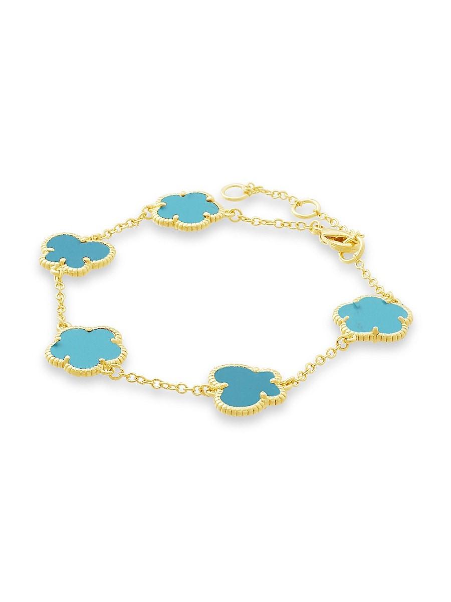 Women's Flower & Butterfly 14K Goldplated & Turquoise Bracelet