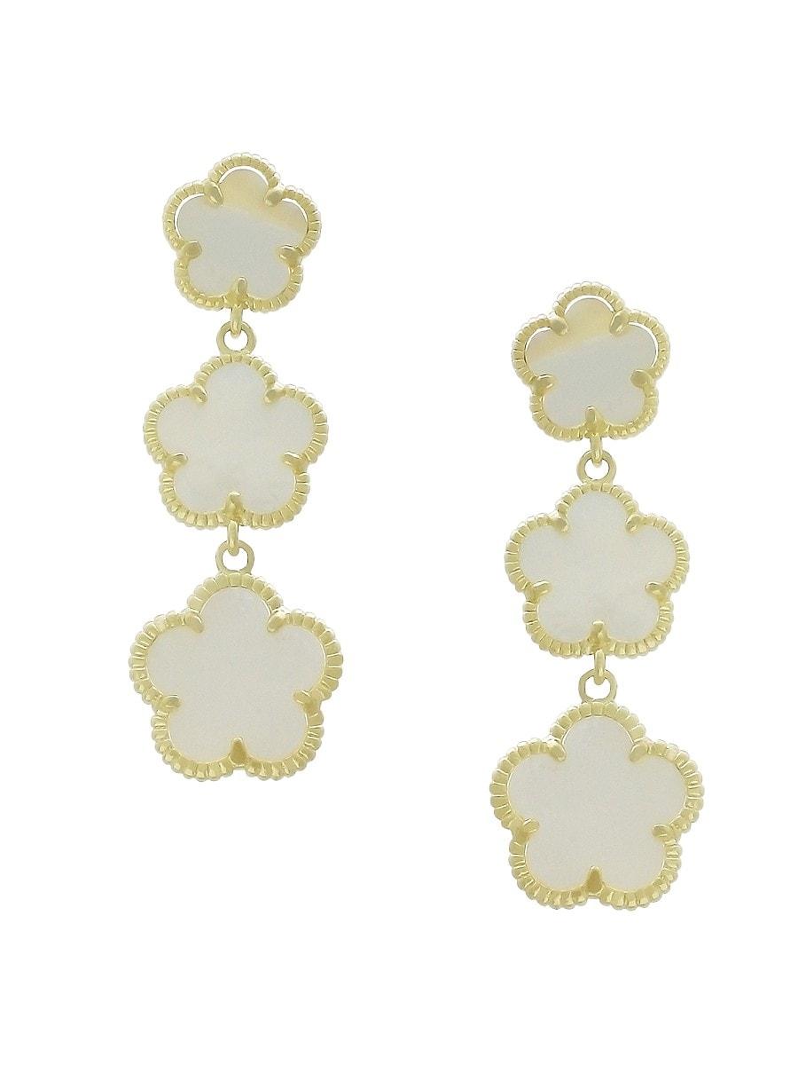 Women's Flower 14K Goldplated & Mother of Pearl Drop Earrings